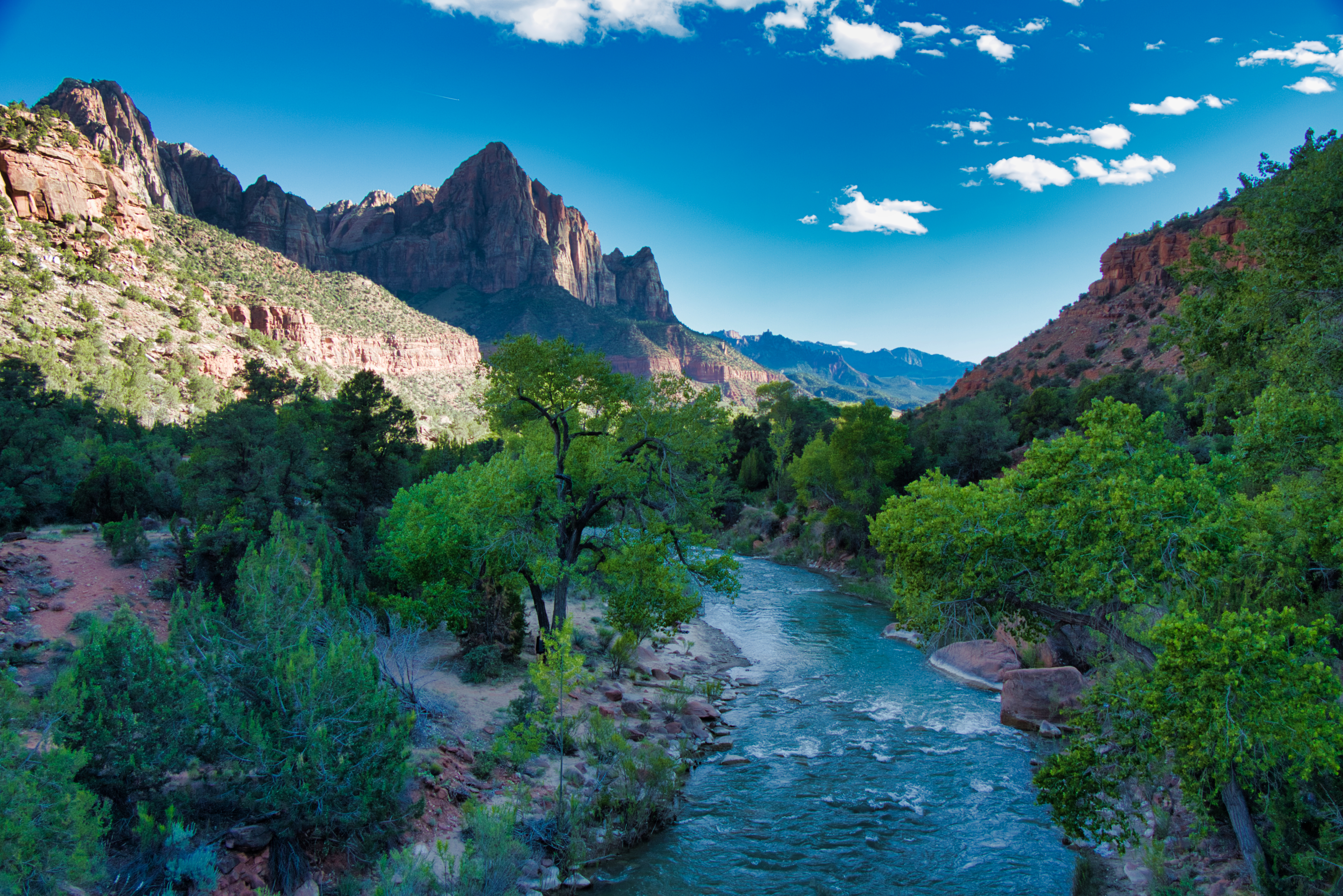 Photo of Zion Valley from Canyon Junction Bridge at Sunset